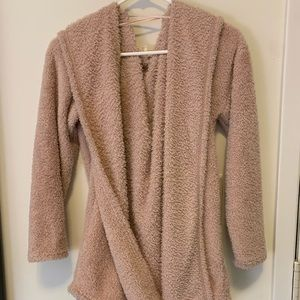 Fluffy Pink Hooded Cardigan